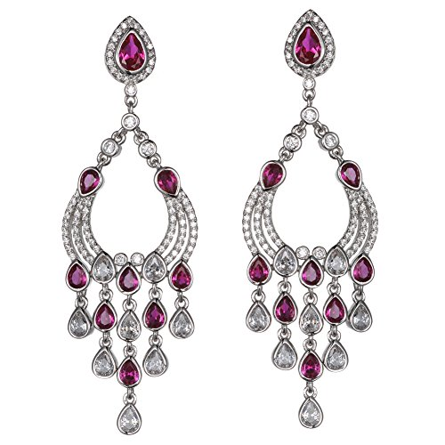 KIVN Fashion Jewelry Long Dangle CZ Cubic Zirconia Chandelier Bridal Wedding Earrings for Women(Ruby)
