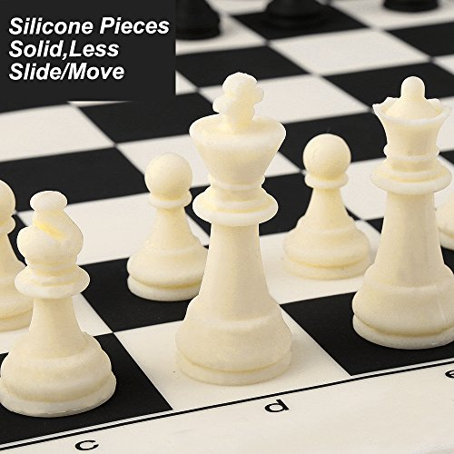 Chess Set Silicone With Tournament Chess Game Pieces U0026 Board Mat Portable  Outdoor Package Case Durable