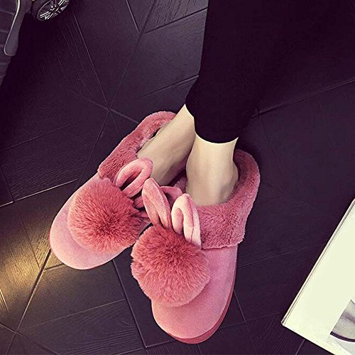 Eastlion Women's Winter Home Indoor Keep Warm Anti-Skid Lovely Plush Slippers Shoes,Boots Pink