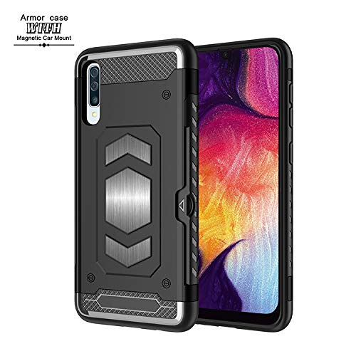 Samsung Galaxy A50 Wallet Case, Slim Armor Shockproof Heavy Duty Protection Dual Layer TPU&PC Hybrid Case Cover with Card Slot Car Mount Holder Thin Case for Galaxy A50 (6) by 22miter
