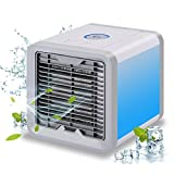 ADDSMILE Portable Air Cooler, USB Charging Desktop Evaporative Air Conditioner, 3 in 1 Use Personal Air Purifier Humidifier with 7 Colors LED Lights, Compact Household cool fan for In/Outdoor