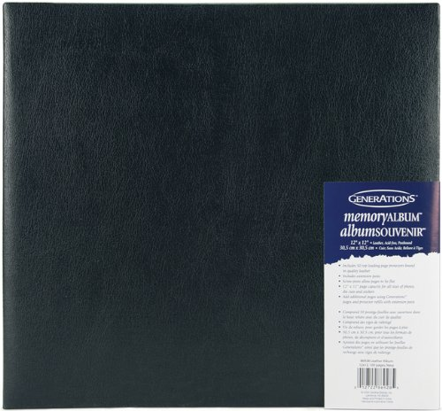 Generations Luxurious Leather Postbound Album, 12-Inch by 12-Inch, Navy
