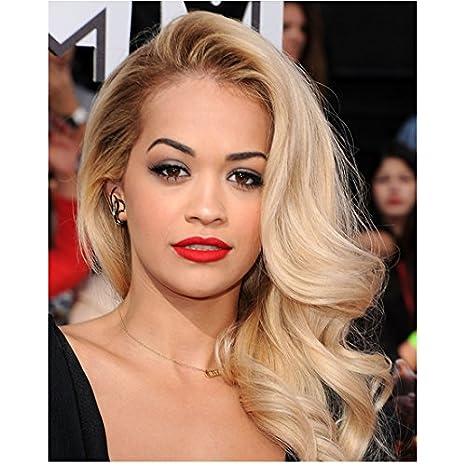 Rita Ora 8 Inch X10 Inch Photo Black Widow Side Swept Hair Very