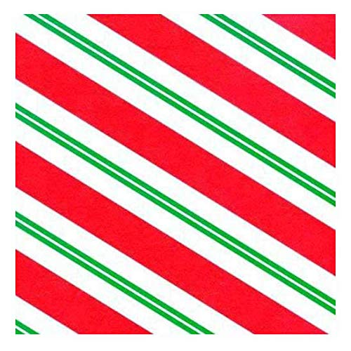 (Red White Green Peppermint Stripe Christmas Gift Wrap Wrapping Paper - 15 Foot Roll )