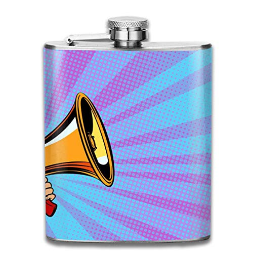 (Speakerphone Color Dots Fashion Portable Stainless Steel Hip Flask Whiskey Bottle for Men and Women 7 Oz)