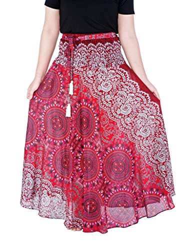 Lannaclothesdesign Women's Long Maxi Skirt Bohemian Gypsy Hippie Style Clothing (US Size 0-16, Burgundy Rose)]()