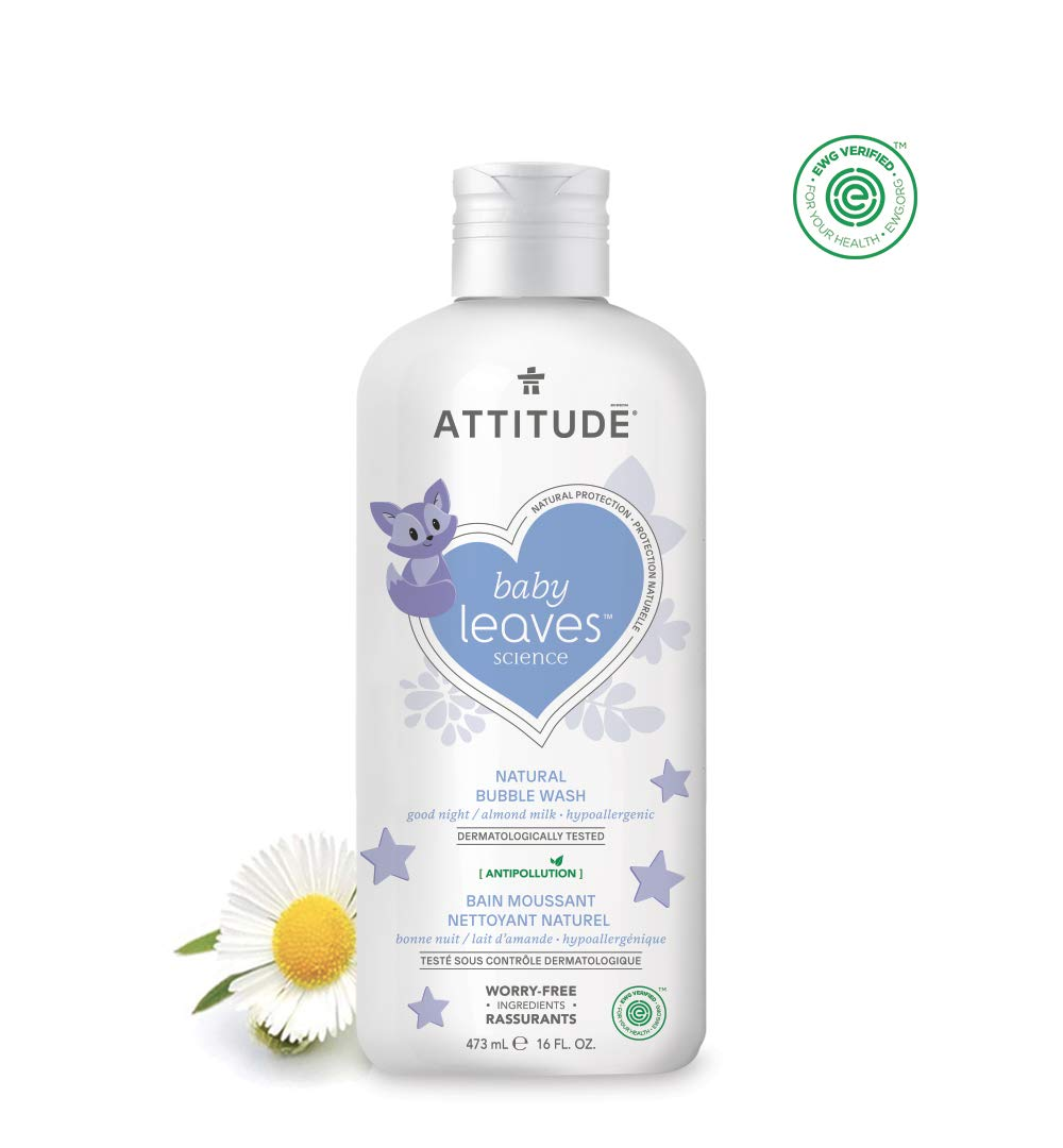Natural Baby Bubble Bath & Body Wash by ATTITUDE | Soothing, Safe, EWG VERIFIED, Hypoallergenic & Dermatologist Tested Baby Bubble Bath | Baby leaves Collection - Pear Nectar (16 Fluid Ounce) ATTITUDE (Amazon)