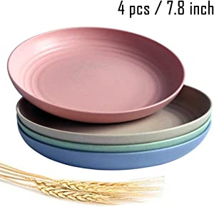 Greenandlife Lightweight Wheat Straw Plates - 4Pack Unbreakable Dishes and Plates Sets Non-toxin, Dishwasher & Microwave Safe BPA free and Healthy for Kids Children Toddler & Adult (7.87'')