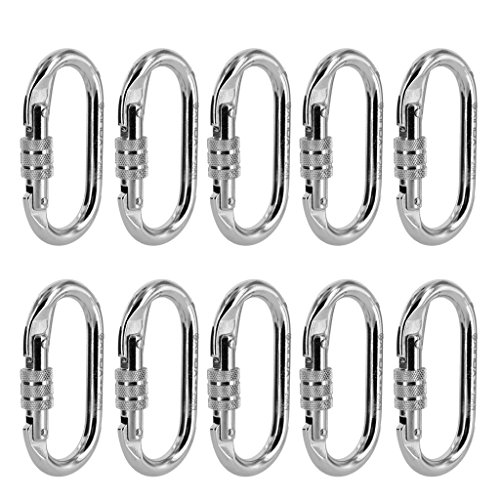 DYNWAVE 10 Pieces Oval Steel Carabiner Screw Locking for Rock Climbing Rescue 25KN - Silver, 10 Pieces