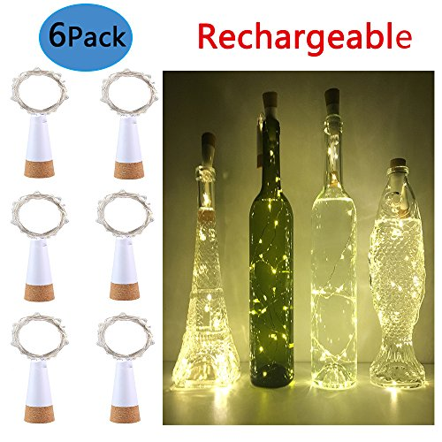 Wine Cork Lights, Anipopy 6 Pack Rechargeable Bottle Fairy String Lights with 15 LED for DIY, Party, Decor, Christmas, Halloween,Gift,Wedding (Warm White)
