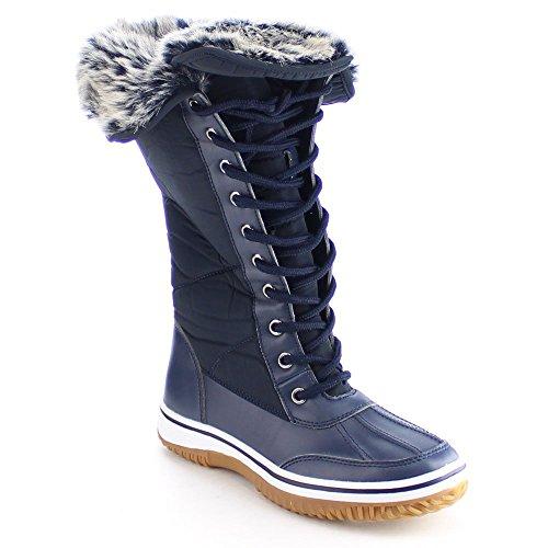 NATURE BREEZE FROST-02 Women's Lace Up Faux Fur Collar Tongue Flat Winter Boots, Color:NAVY, - Winter Fur Faux Boots