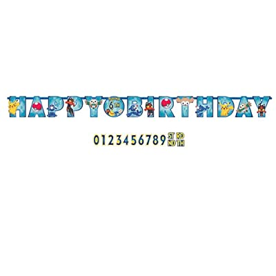 American Greetings Pokemon Add-an-Age Banner, 1 Pieces, Made from Vinyl, Birthday, by Amscan: Toys & Games