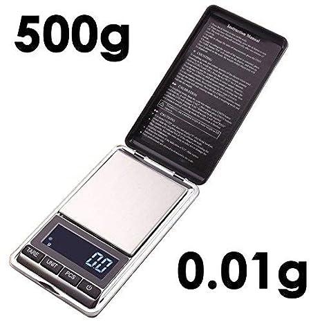 Joyería Dongjinrui escala 0,01g/500g 0,01 gramo Mini báscula electrónica de precisión de bolsillo portátil LCD Digital básculas de joyería el equilibrio de ...