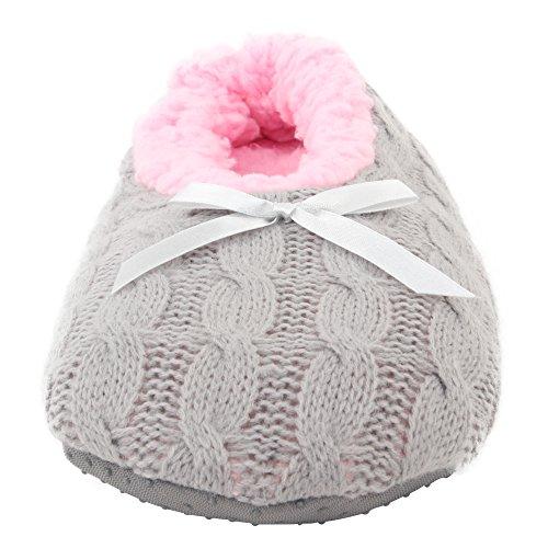 Pink Ballerina Slippers House 3 Grey Anti on Slip Slippers Women's Enimay Slip Indoors Fleece 58wXq7xx4