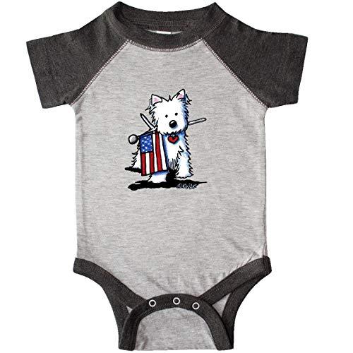 inktastic US Flag Westie Infant Creeper Newborn Heather and Smoke - KiniArt