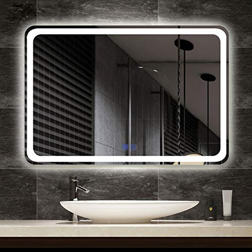 ZCY Illuminated LED Bathroom Mirror with LED Light Bluetooth Smart Touch + -