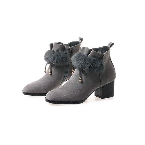 Botines Cuadrados con tacón Cuadrado para Mujer Botines Cortos con Cremallera Lateral Alta, Gris, 40: Amazon.es: Zapatos y complementos