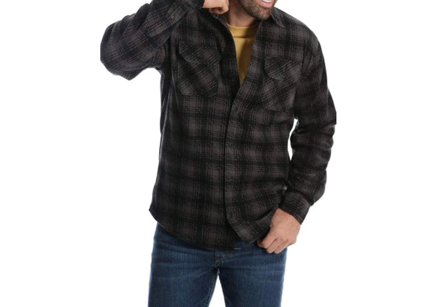 Medium 38//40, Caviar Wrangler Mens Long Sleeve Fleece Flannel Shirt