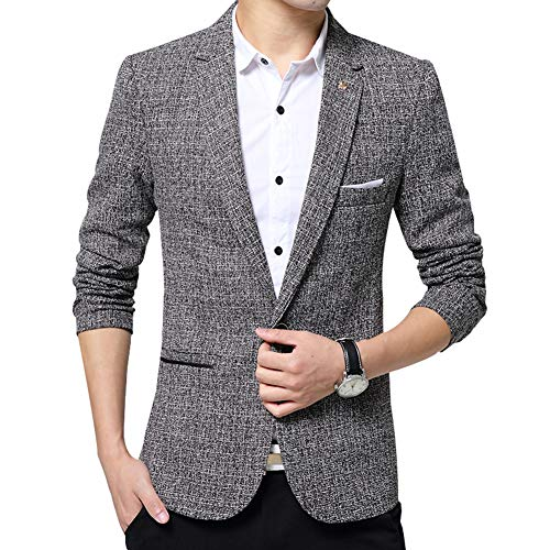Men's Blazer Jacket Slim Fit One Button Sport Coat Notch Lapel Casual Business Solid Single Breasted Outwear (Light Grey, XX-Large) ()
