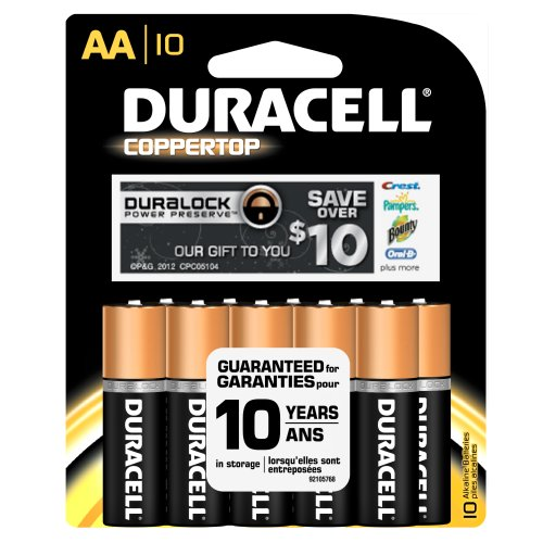 Duracell MN1500B10Z CopperTop Alkaline-Manganese Dioxide Battery Saver Pack, AA Size, 1.5V (Case of 48 Cards, 10 Unit per Card)