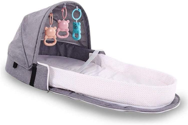 Portable Bionic Crib with Bed Bell Mosquito Net and Storage Bag miju Foldable Baby Travel Cot Safety Isolation Bed Machine Wash Available All The Year for Aged 0~2 masterly Waterproof Mat