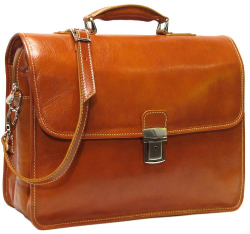 Floto Luggage Cortona Laptop Brief, Olive/Brown, (Medium Laptop Brief)