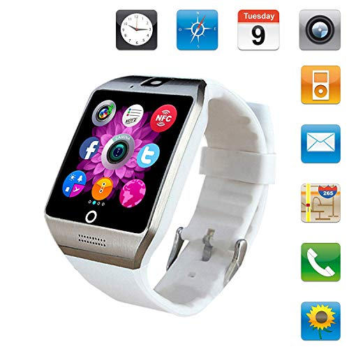 Smartwatch Sim Card Camera for Men Women Kids - Bluetooth Smart Watches Android Cell Phone Watch Card SD with Pedometer Music Player (White)