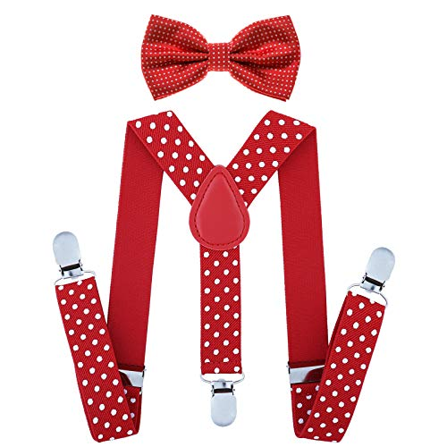Child Kids Suspenders Bowtie Set - Adjustable Suspender Set for Boys and Girls (Red Polka dot, 30Inches (6 Years to 5 Feet Tall)]()