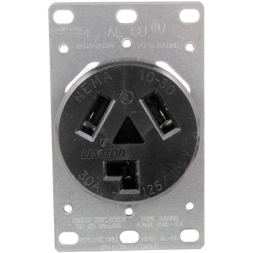 1 - Single-Flush Dryer Receptacle (3 wire), 30A, 3 wire, 5207 by Pass & Seymour