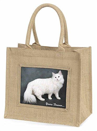 Advanta weiß catyours Forever Große Einkaufstasche/Weihnachten Geschenk, Jute, beige/natur, 42x 34,5x 2cm