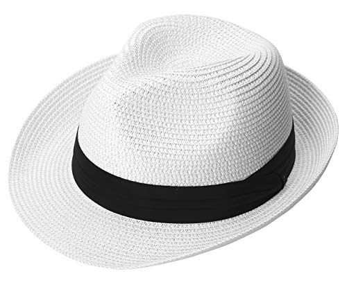 Lanzom Men Summer Straw Foldable Roll up Hat Fedora Beach Sun Hat UPF50+ (A-White) -
