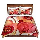 DiaNoche Designs Dawn Derman-Poppies Brushed Twill Unique Home Decor Bedding Cover, 7 Queen Duvet Sham Set