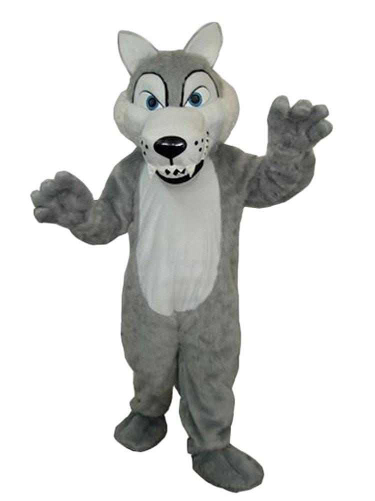 Grey Wolf Mascot Costume Adult Size Cartoon Halloween Fancy Dress Suit