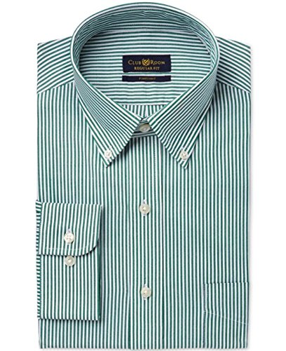Club Room Estate Wrinkle Resistant Spruce Ticking Stripe Dress Shirt
