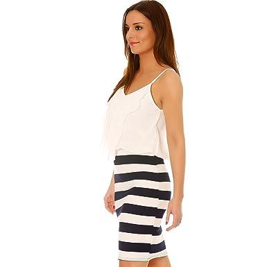 Miss Wear Line - Vestido Blanca y Marino con Top con volantes y ...