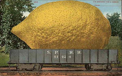 Giant Lemon on a Railway Truck Exaggeration Original Vintage Postcard