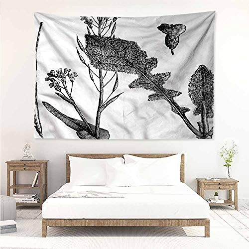 Sunnyhome Wall Tapestry,Black and White Root Vegetable,Wall Tapestry for Bedroom,W60x51L -