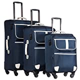 Coolife Luggage 3 Piece Set Suitcase with TSA lock pinner softshell 20in24in28in (navy2)