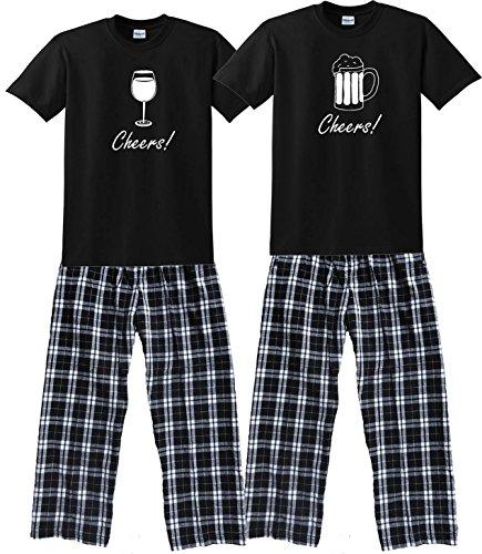 Beer Black Shirt Pant Pajamas Set - Adult Large, S/S, CBWPlaid Pants (340) (Hers Christmas His Pyjamas And)