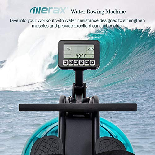 Merax Water Rowing Machine - Fitness Indoor Water Rower with LCD Monitor Home Gym Equipment (Black)