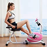Pink Magnetic Recumbent Stationary Exercise Bike Equipment Health Cardio Fitness Trainer Cycling Home Indoor Exercisng Machine Gym Health Workout Training Exercycle Adjustable Frame 8 Level Resistance