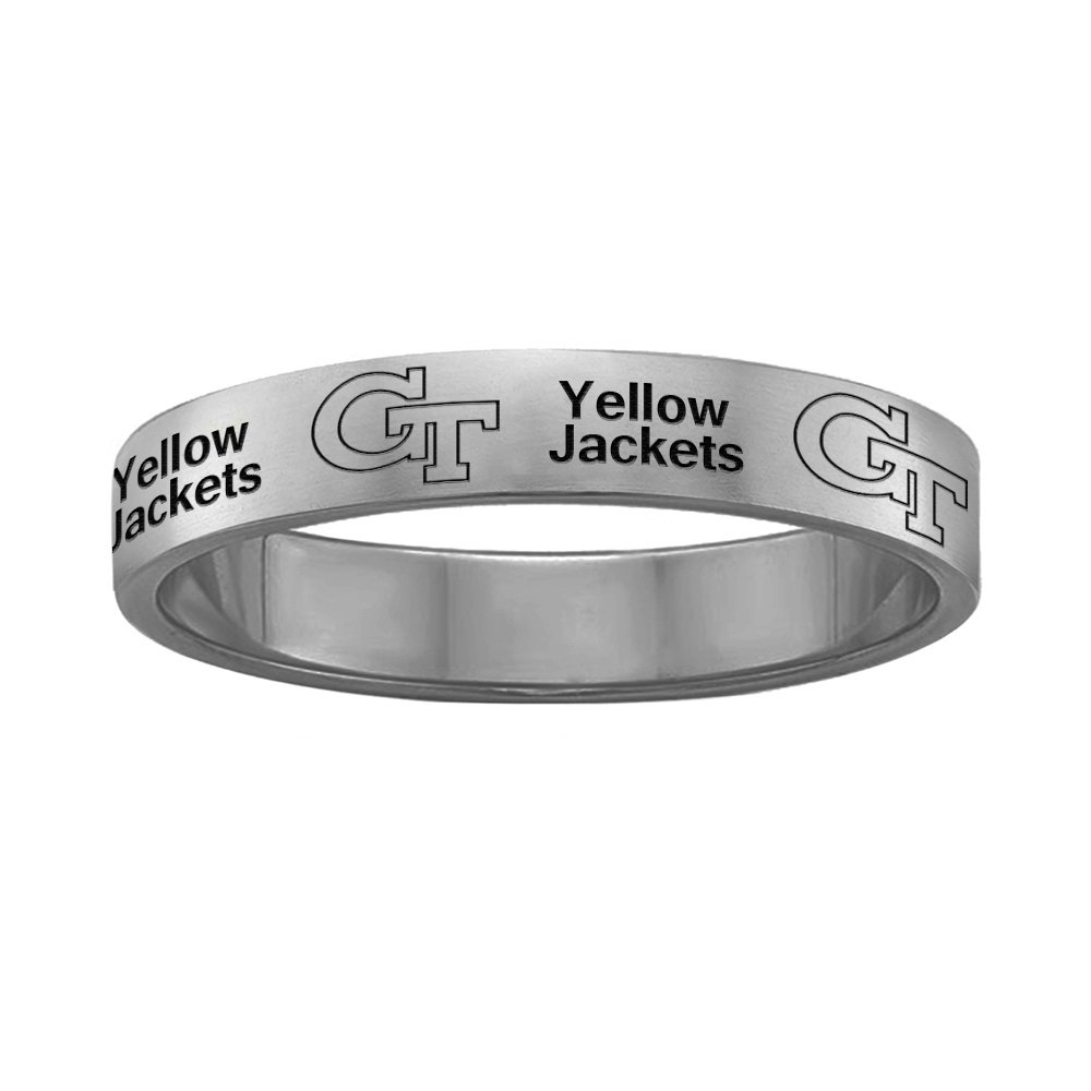College Jewelry Georgia Tech Yellow Jackets Ring Narrow Style 4MM Wide Band - Full Logo Design (9.5)