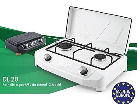 Hornillo de camping a gas 2 fuegos GPL blanco modelo profesional dl-20: Amazon.es: Hogar