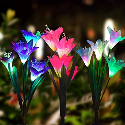 GITURKD Solar Flowers Lights Outdoor - 3 Pack Solar Powered Stake Lights with 12 Lily Flowers, Multi Color, Auto Changing, LED Solar Stake Lights for Garden, Patio, Backyard
