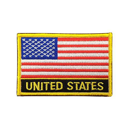 (American Flag Iron On Patch (United States Sew-On w/Words, 2