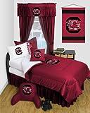 South Carolina Gamecocks 8 Pc FULL Comforter Set - Locker Room Series - Entire Set Includes: (1 Comforter, 1 Flat Sheet, 1 Fitted Sheet, 2 Pillow Cases, 2 Shams, 1 Bedskirt) SAVE BIG ON BUNDLING!
