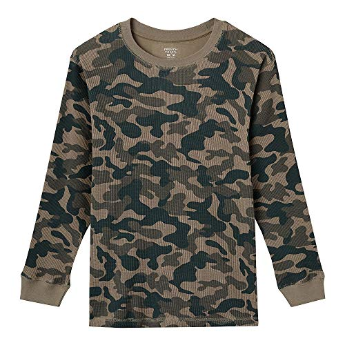 French Toast Boys' Big Long Sleeve Thermal Shirt, Green camo, XL ()