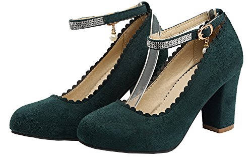 VogueZone009 Women's High-Heels Solid Buckle Frosted Round Toe Pumps-Shoes Army Green ErzfUYp