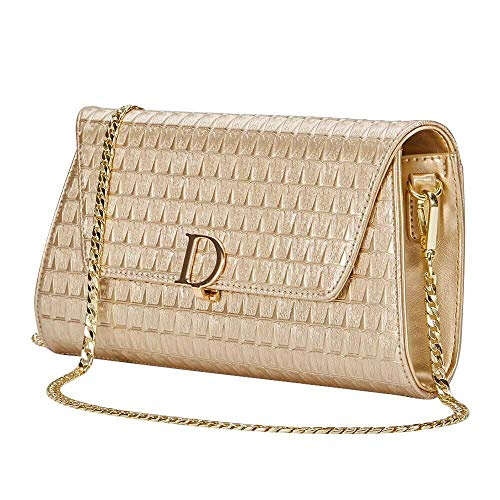 Evening Handbag for Women, Wedding Bridal Clutch Purse - Leather Wallets, Prom Flap Bag with Chain (Champagne)