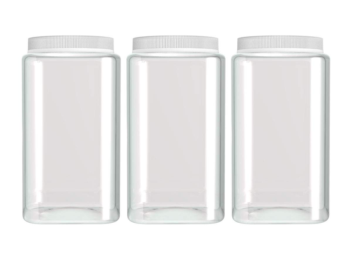 Silicook Clear Plastic Jar, Set of 3-30oz, Square Shaped, Transparent, Food Storage Container, Kitchen & Household Organization for Dry goods, Spices, Vegetables, Ingredients and More